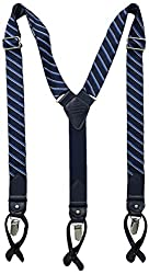 Tommy Hilfiger Mens 32mm Woven School Boy Stripe Suspender, Navy, One Size