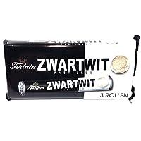 Zwartwit Pastilles (Black & White Candy Rolls) - 4.9oz (Pack of 1 with 3 Rolls)