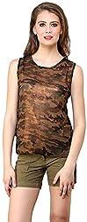ShilpKala Women's Sleeveless Top (skt3028m, Brown, Medium)