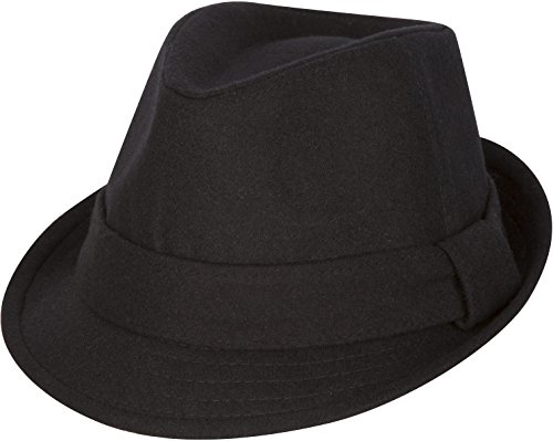 Sakkas F1218 Original Unisex Structured Wool Fedora Hat - Black - S/M