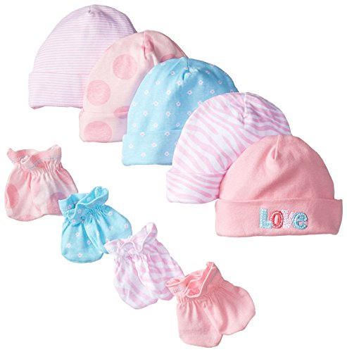 Gerber Baby Newborn 5 Pack Caps and 4 Pack Mitten Bundle Love for Girls, Pink, 0-6 Months