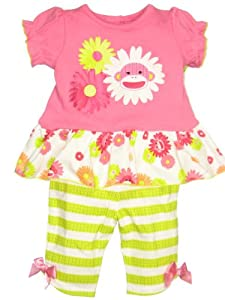 Baby Girl 2 Piece Sock Monkey Capri Outfit by Baby Starters