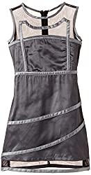 Herberto Girl's Party and Evening Dress (HRBT-DRESS089-2_Grey_5-6 years)