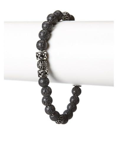 Blackjack Genuine Lava Stone & Stainless Steel Bead Bracelet
