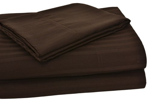 Elite Home Collection Twin Extra Long Wrinkle Resistant Woven Stripe Sateen Sheet Set, Chocolate front-652015
