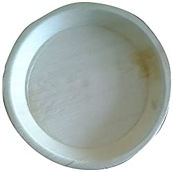 Perfect Disposable Party Plates- Areca leaf plates - Palm leaf plates - 100% Natural eco friendly plates - Bio degradable Round Plate (V006, Natural , 12 Inch) Pack of 20 Plates