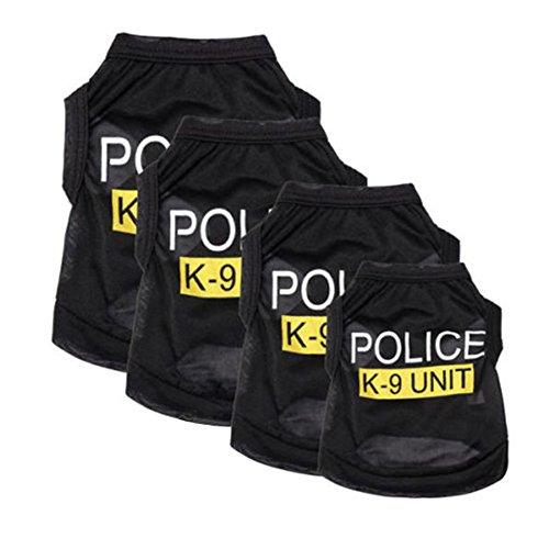 犬服 ドッグウェア 着脱簡単 警察犬 タンクトップ ロゴ ベスト サイズXS/S/M/L ブラック(L)