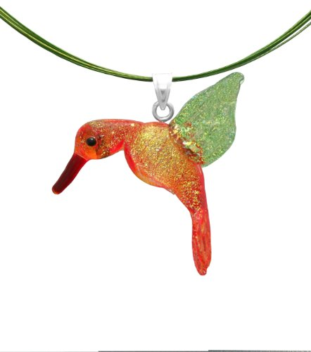 """Sterling Silver Dichroic Glass Orange and Green Hummingbird Lampwork Pendant on Stainless Steel Wire, 18"""""""