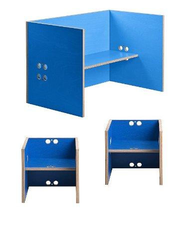 Kindersitzgruppe – Kindermöbel – 2 Kinderstühle + 1 Kindertisch / Bank. Freie Kombination der Farben möglich! (Stühle / Hocker blau, Tisch / Bank blau)