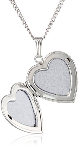"""Sterling Silver Engraved Flowers Heart Locket Necklace, 18"""""""