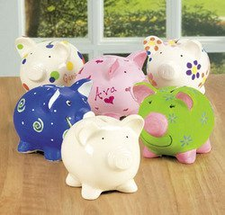 DESIGN YOUR OWN UNGLAZED CERAMINC PIGGY BANKS (1 DOZEN) - BULK - 1