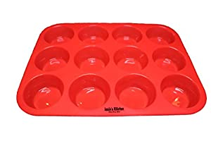 Izzie's Kitchen Silicone Cupcake Pans [TWO PACK], One 12 cup & one 24 cup mini Silicone Muffin & Cupcake baking pans / MULTI-PACK (one of each) / Non stick / Dishwasher - Microwave safe