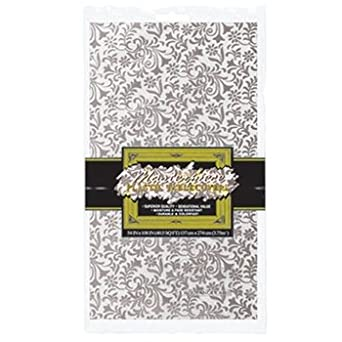 Masterpiece Plastic Lace Rectangular Tablecover (silver) Party Accessory  (1 count) (1/Pkg)