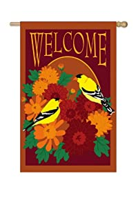 "Oriole Bird and Mum Flower Decorative ""Welcome"" Fall Garden Flag 18"" x 12.5"""