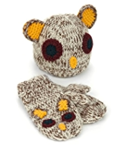 2 Piece Owl Design Knitted Hat & Mittens Set