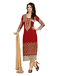 Metroz Women's Maroon Colored Georgette Dress Material with Dupatta