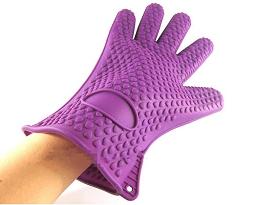 GYMNLJY Thickened Non-slip Silicone glove Baking tools Heat insulation Oven mitts Five fingers£¨Set of 2£ , purple (Small Size Oven Mitt compare prices)