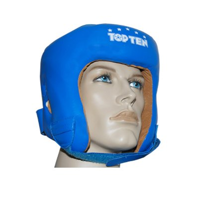 Top Ten Aiba Olympic Leather Boxing HeadGuard - Blue Medium