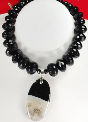 Natural Black Onyx & Onyx Pendant Silver Necklace N2_0711_04