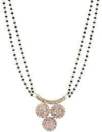 Jewelstone CZ Simulated Gold Plated Mangalsutra With Triple Black Beaded Chain - B01FM9UER2