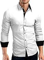 Grin&Bear Slim Fit bügelfreies kontrast Hemd Herrenhemd, SH510