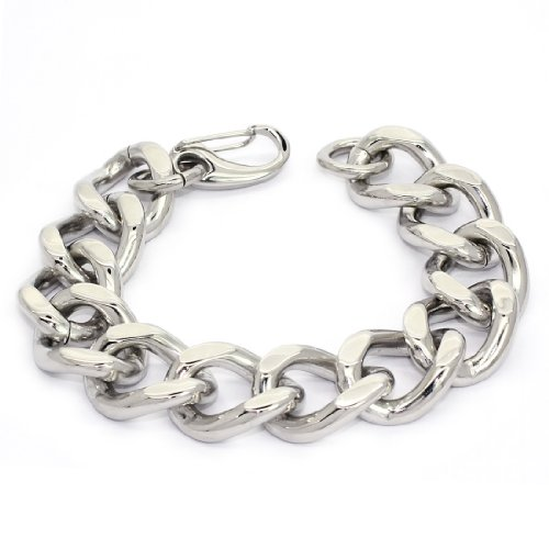 STAINLESS STEEL Stylish Bracelet / Bangle With Curb Links, 9.5'' (LIFETIME WARRANTY)