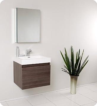 "Senza 23.5"" Nano Modern Bathroom Vanity Set with Medicine Cabinet Base Finish: Gray Oak"