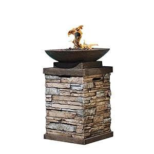 "28"" Stone Tile Brick Pedestal Style Outdoor Patio Firebowl"