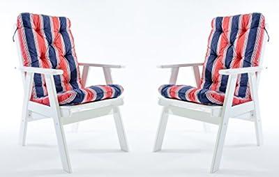 2er Set Hochlehnerkissen Polsterkissen Sitzauflage Gartenstuhlauflage Rot / Blau von Ambientehome - Gartenmöbel von Du und Dein Garten
