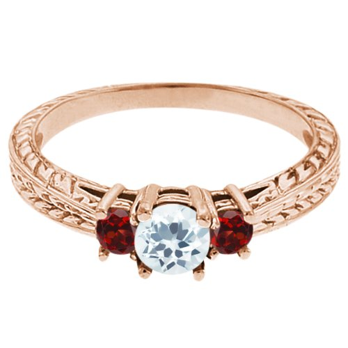 0.57 Ct Round Sky Blue Topaz Red Garnet 18K Rose Gold 3-Stone Ring