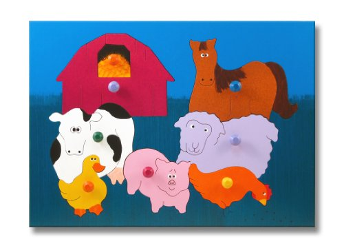 Cheap KidPuzzles Wooden Puzzle with Pegs Farm Animals (B00564HLUM)