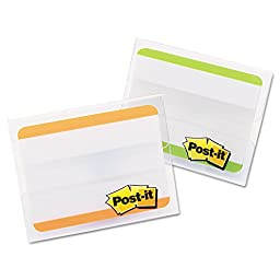 Post-it Tabs Durable File Tabs, 2 x 1 1/2, Striped, Green/Orange, 24/pk