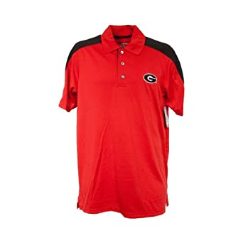 Georgia Bulldogs NCAA Trenches Polo by Majestic Athletic (Red-Black) by VF