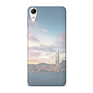 HTC 828 Transparent Printed Design [Scratchproof + Protective] - Hong Kong Sunset Skyscraper City Bay Case