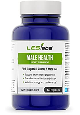 Male Health, Testosterone Support, Sexual Health & Performance Supplement (60 Vegetarian Capsules) • Natural Formula With Tongkat Ali, Ginseng Panax & L-Arginine • 100% Money-Back Guarantee