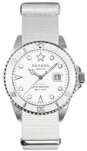 Oxygen - EX-D-WHI-40-WH - Diver - Montre Homme - Quartz Analogique - Cadran Blanc - Bracelet Nylon Blanc
