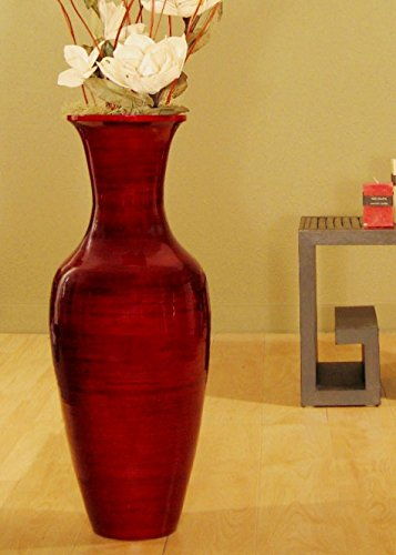 Classic Bamboo Floor Vase (Floral Not included)- Mahogany Red