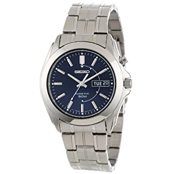 A brilliant Seiko watch introducing the Kinetic sport collection. Stainless steel case measures 40mm diameter by 11mm thick. Brushed and polished link bracelet includes a convenient push button deployment clasp. Blue dial with luminous silver toned h...