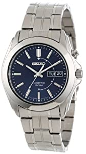 Seiko Men's SMY111 Stainless Steel Kinetic Blue Dial Watch 精工 男士 人工动能手表 背透-奢品汇 | 海淘手表 | 腕表资讯