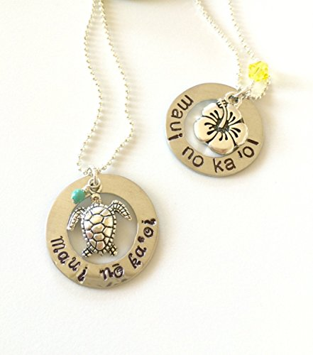 maui-no-ka-oi-maui-is-the-best-hand-stamped-necklace-with-silver-sea-turtle-or-hibiscus-flower-maui-