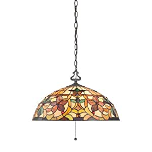 Quoizel TF878CVB Kami 3-Light Tiffany Hanging Pendant Lamp with 360 Pieces of Tiffany Glass, Vintage Bronze
