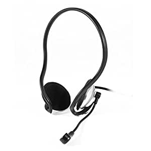 PC Computer Mp4 Earpad 3.5mm Back Hang Headset Headphone w Microphone
