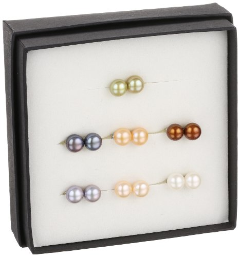 Set of 7 Freshwater Cultured Button Pearl Stud Earrings with Sterling Silver Posts (7-8mm )