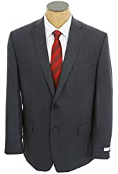 Calvin Klein Mens Navy Blue Mini Check Slim Fit Wool Sport Coat Jacket