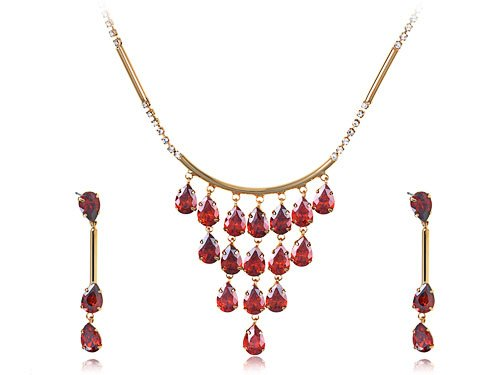 Ruby Red Dangling Ripe Apples on Gold Toned Chain Necklace and Drop Earring Set