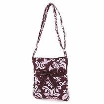 Belvah Quilted Damask Hipster Crossbody Handbag (Brown/ Pink)