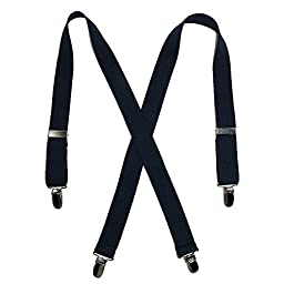 Solid Color Elastic Children\'s Suspenders by Suspender Factory (Navy), 30 inches long, One Size