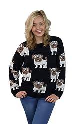 Girl Talk Long Sleeve Small Pug Print Jumper