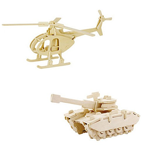 Elife Set of 2 3-D Wooden Puzzle Tank Puzzle and Helicopter Puzzle - 1