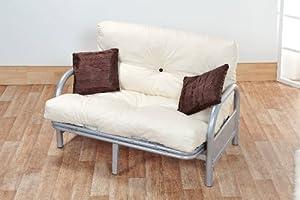 Mexico double 4ft6 tri fold silver futon sofa bed frame for Divan bed frame argos